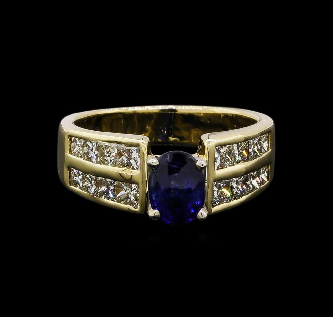 1.32 ctw Sapphire and Diamond Ring - 14KT Yellow Gold - 2