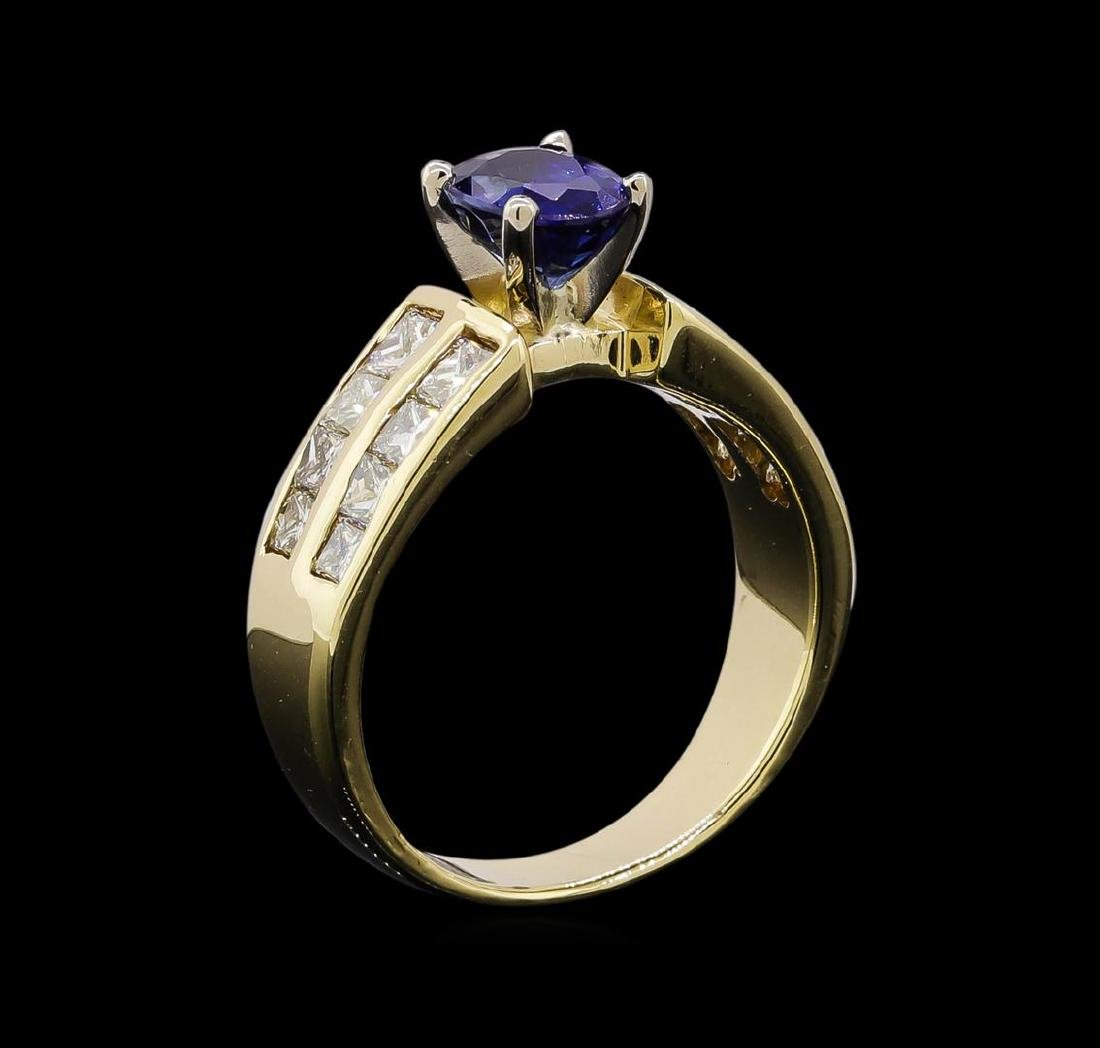 1.32 ctw Sapphire and Diamond Ring - 14KT Yellow Gold - 4