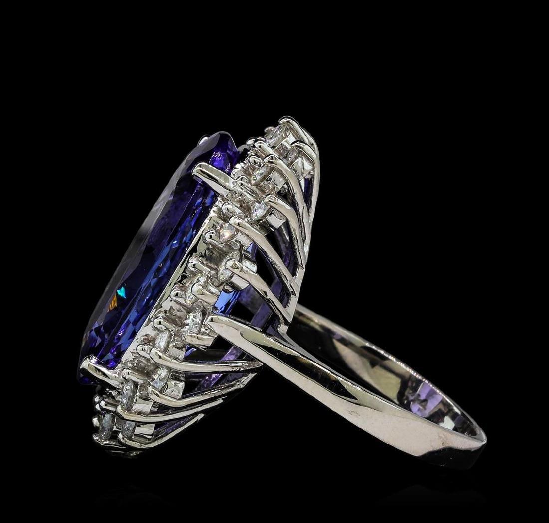 14.88 ctw Tanzanite and Diamond Ring - 14KT White Gold - 3