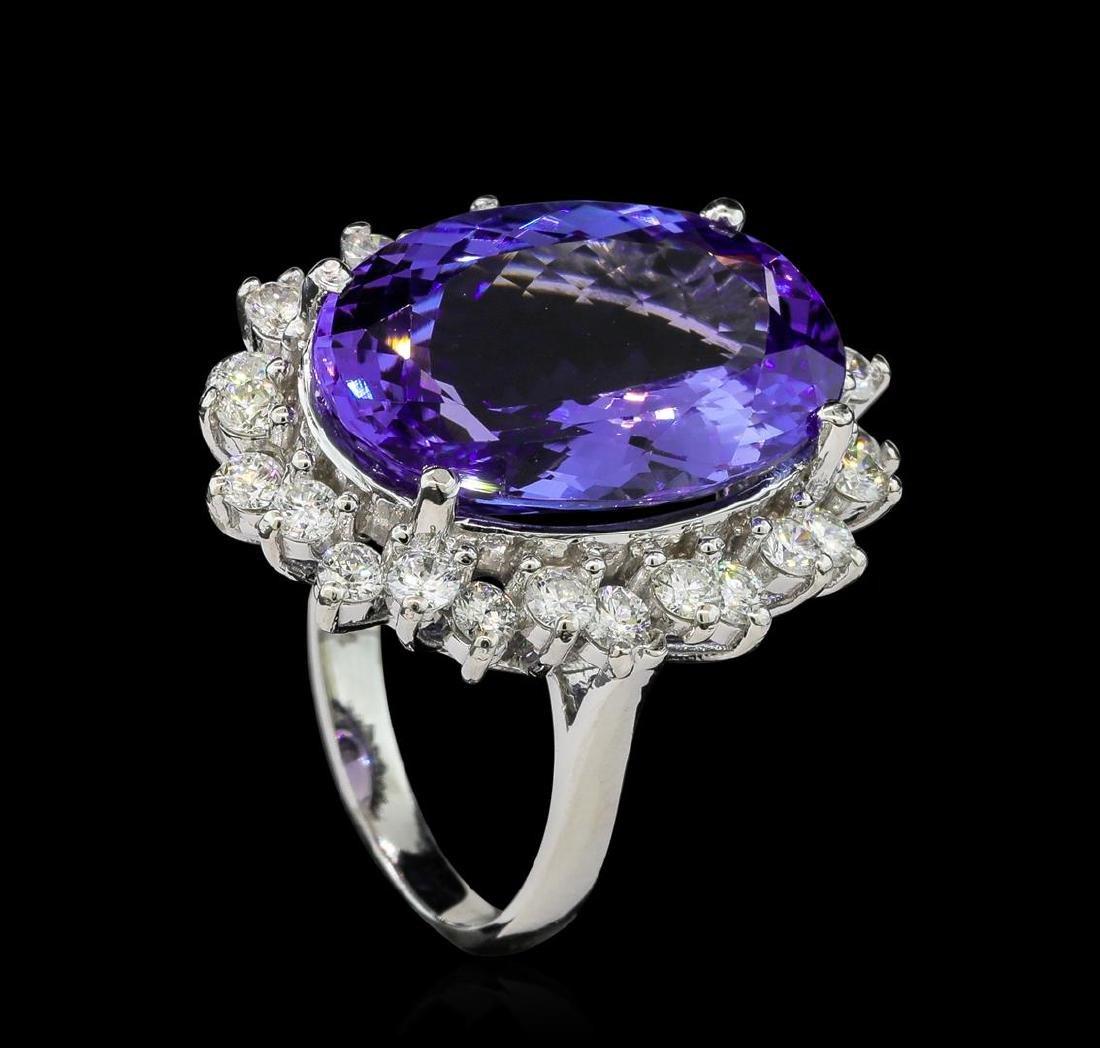 14.88 ctw Tanzanite and Diamond Ring - 14KT White Gold - 4