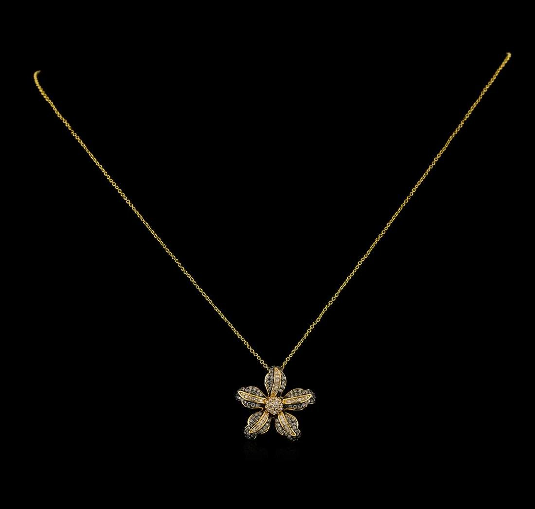 0.73 ctw Diamond Pendant With Chain - 14KT Yellow Gold - 2