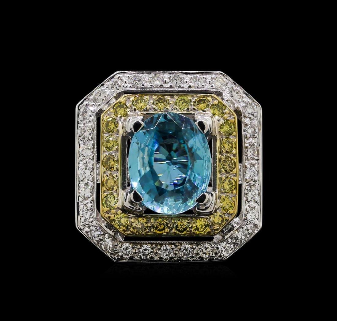 6.25 ctw Blue Zircon and Diamond Ring - 18KT White Gold - 2