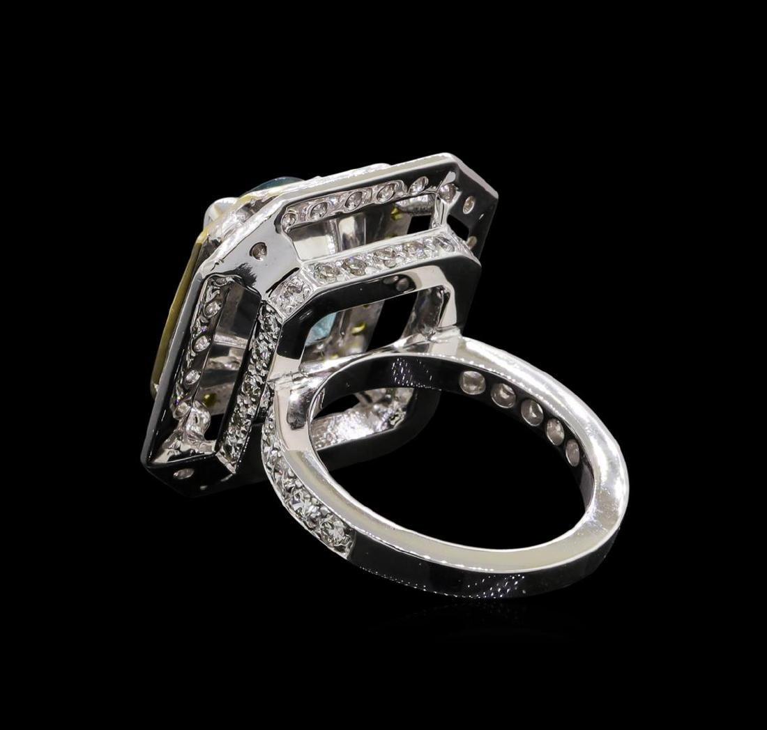 6.25 ctw Blue Zircon and Diamond Ring - 18KT White Gold - 3