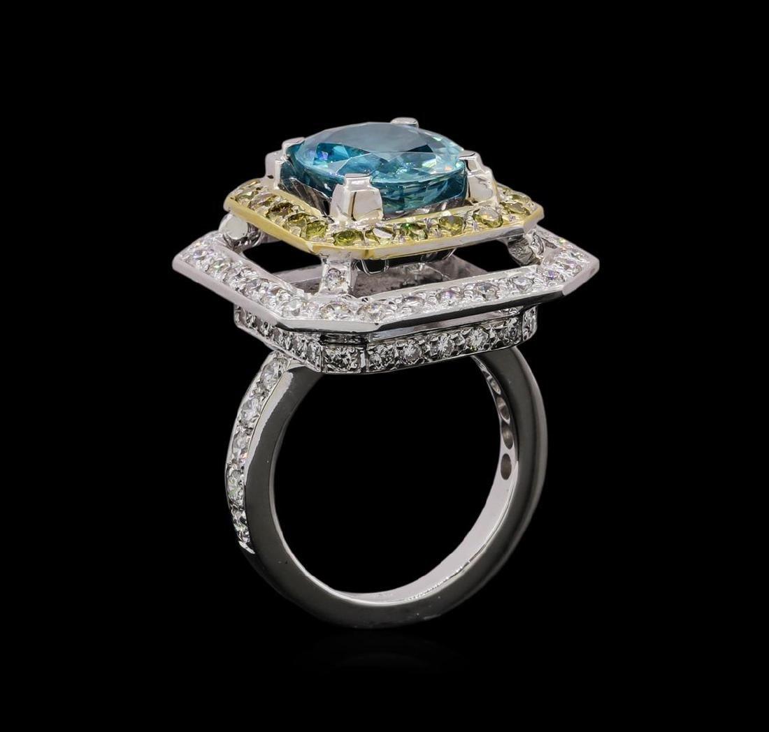 6.25 ctw Blue Zircon and Diamond Ring - 18KT White Gold - 4