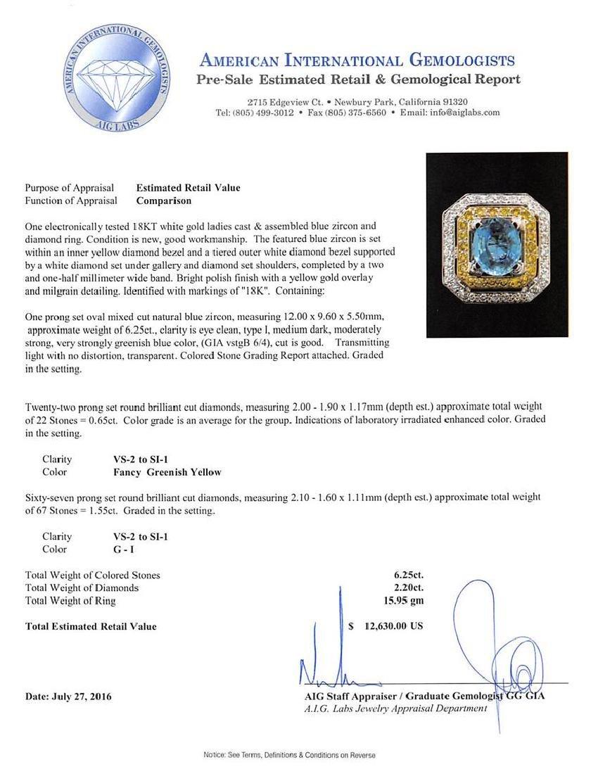 6.25 ctw Blue Zircon and Diamond Ring - 18KT White Gold - 5