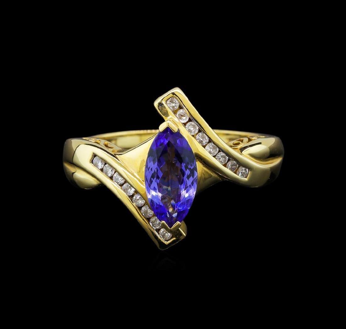 14KT Yellow Gold 0.99 ctw Tanzanite and Diamond Ring - 2