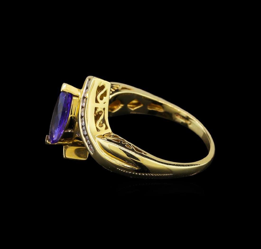 14KT Yellow Gold 0.99 ctw Tanzanite and Diamond Ring - 3