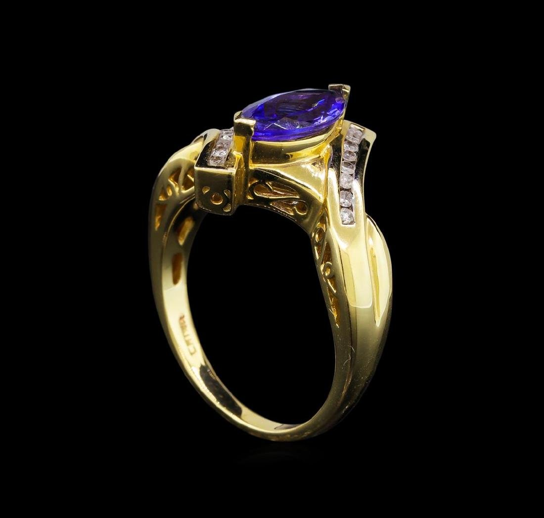 14KT Yellow Gold 0.99 ctw Tanzanite and Diamond Ring - 4