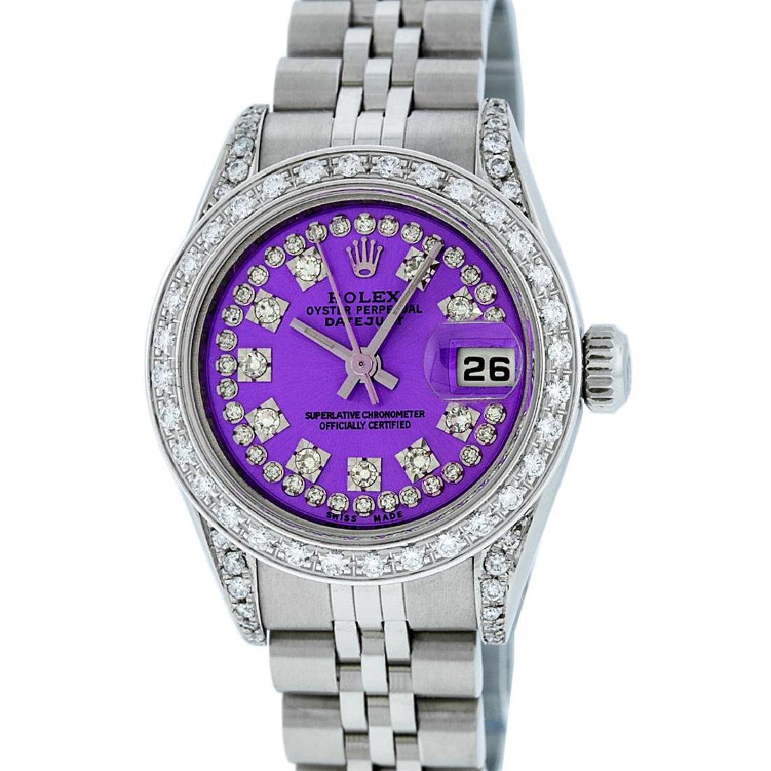Rolex Ladies Stainless Steel Quickset Purple String