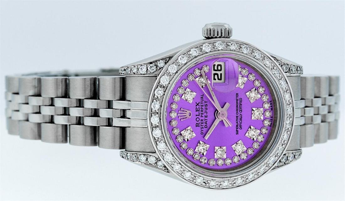 Rolex Ladies Stainless Steel Quickset Purple String - 2