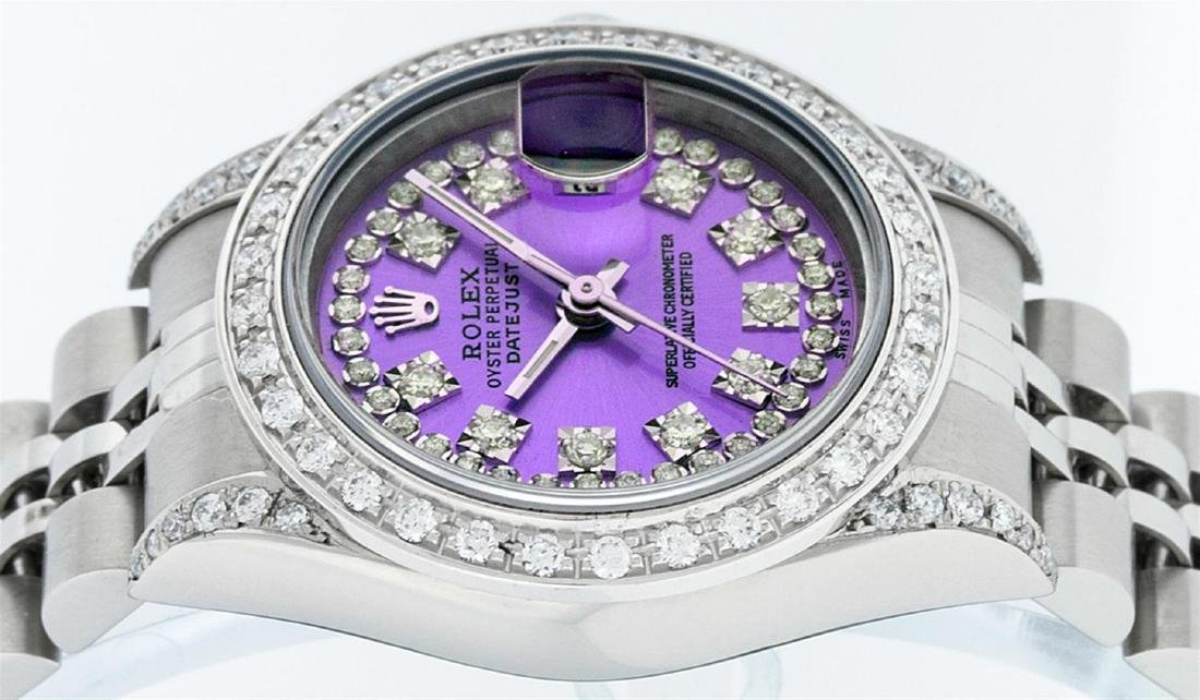 Rolex Ladies Stainless Steel Quickset Purple String - 4