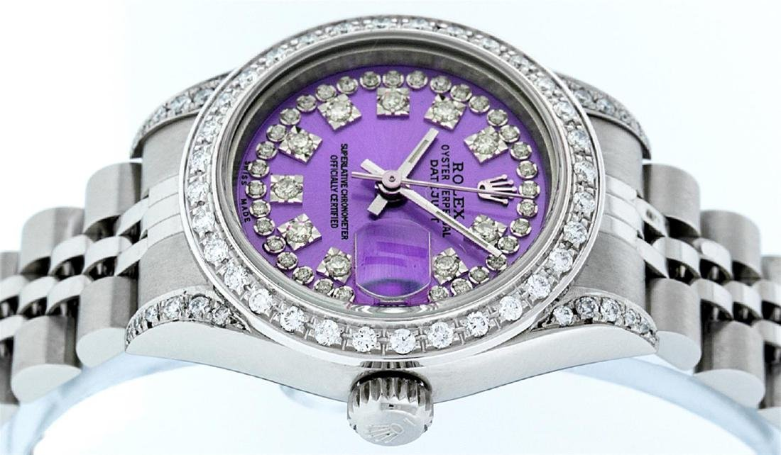 Rolex Ladies Stainless Steel Quickset Purple String - 5