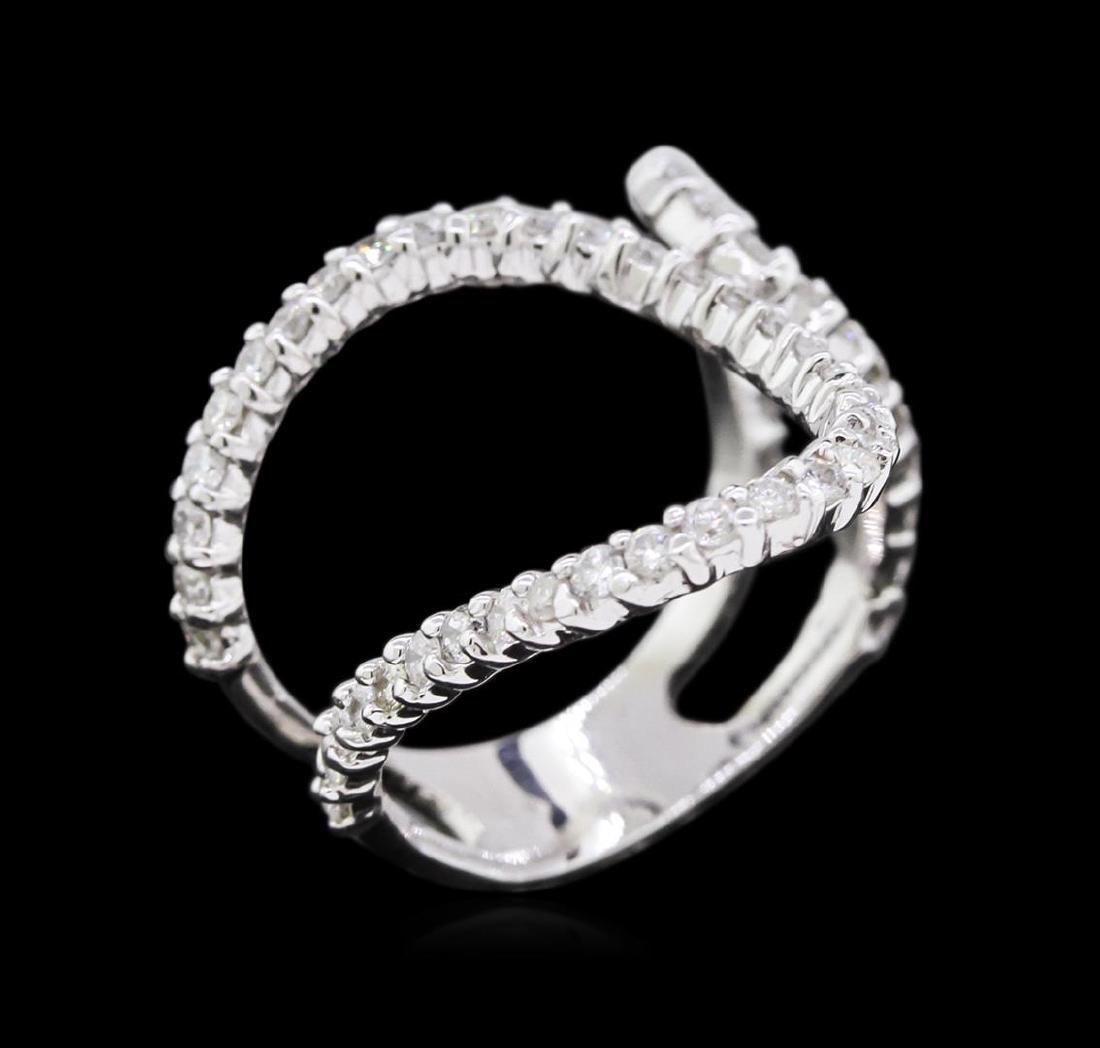 0.90 ctw Diamond Ring - 14KT White Gold - 3