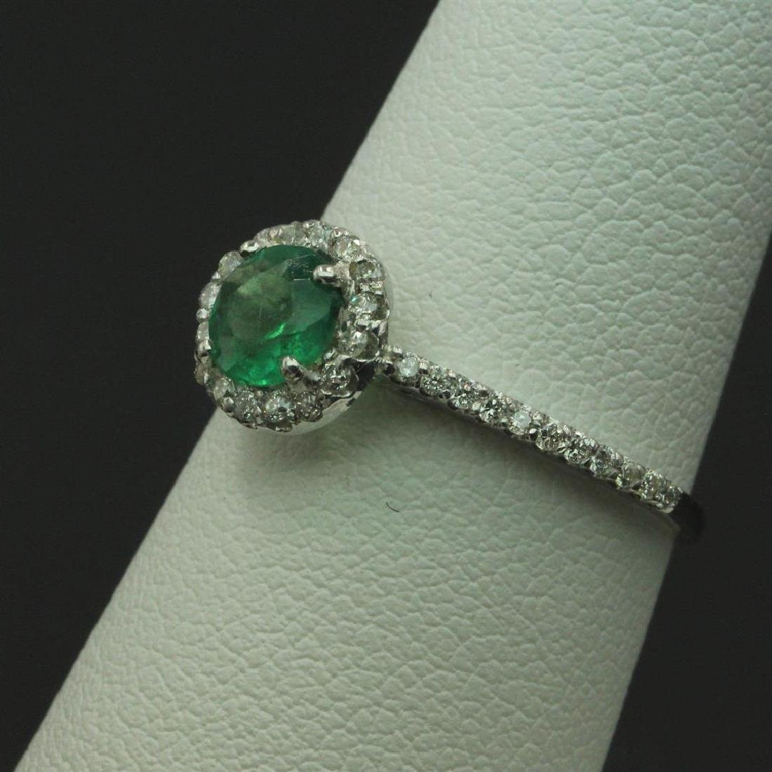 0.57 ctw Emerald and Diamond Ring - 14KT White Gold - 2