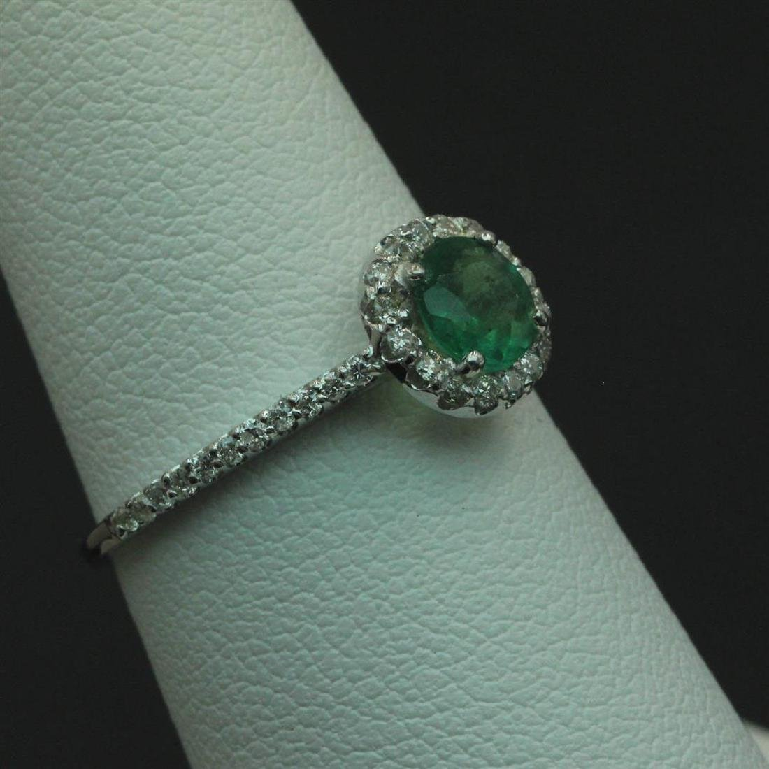 0.57 ctw Emerald and Diamond Ring - 14KT White Gold - 3
