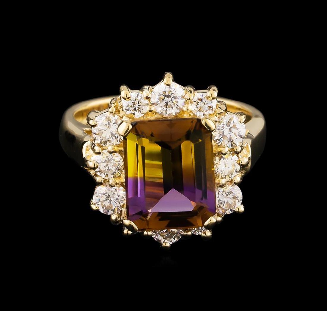 2.65 ctw Ametrine and Diamond Ring - 14KT Yellow Gold - 2