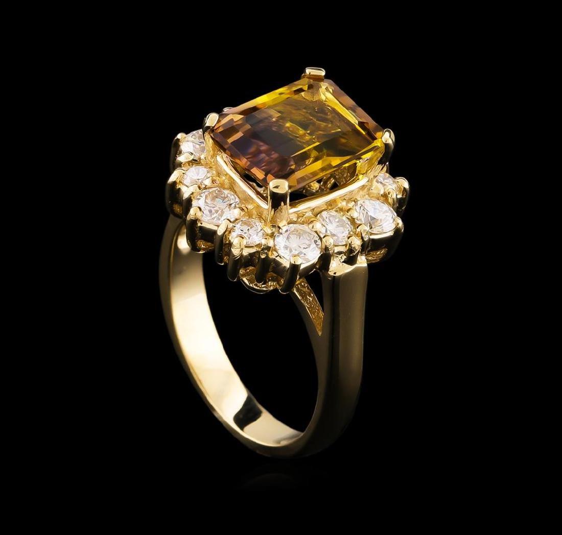 2.65 ctw Ametrine and Diamond Ring - 14KT Yellow Gold - 4