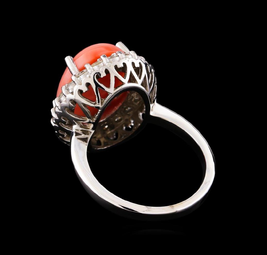 6.50 ctw Pink Coral and Diamond Ring - 14KT White Gold - 3