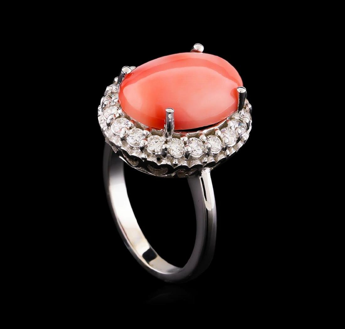 6.50 ctw Pink Coral and Diamond Ring - 14KT White Gold - 4