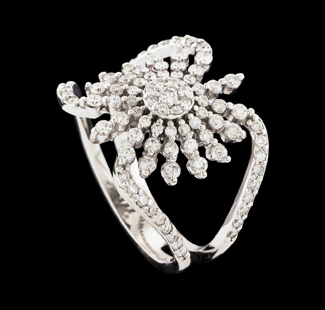 0.88 ctw Diamond Ring - 14KT White Gold - 4