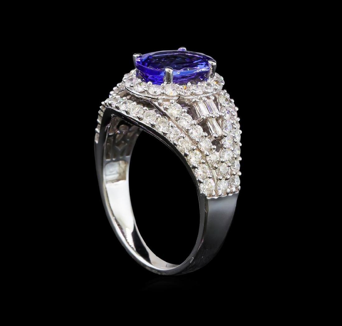 14KT White Gold 1.50 ctw Tanzanite and Diamond Ring - 4