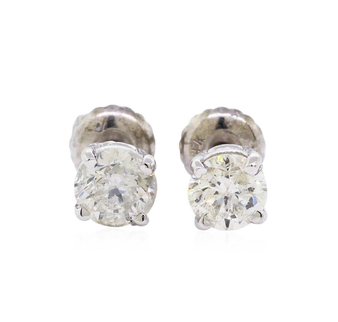 0.97 ctw Diamond Stud Earrings - 14KT White Gold