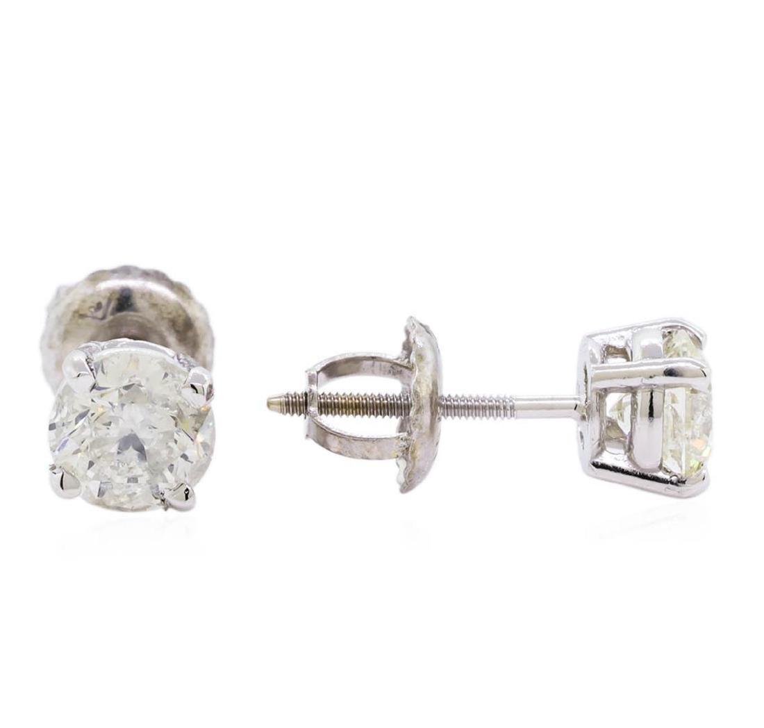 0.97 ctw Diamond Stud Earrings - 14KT White Gold - 2