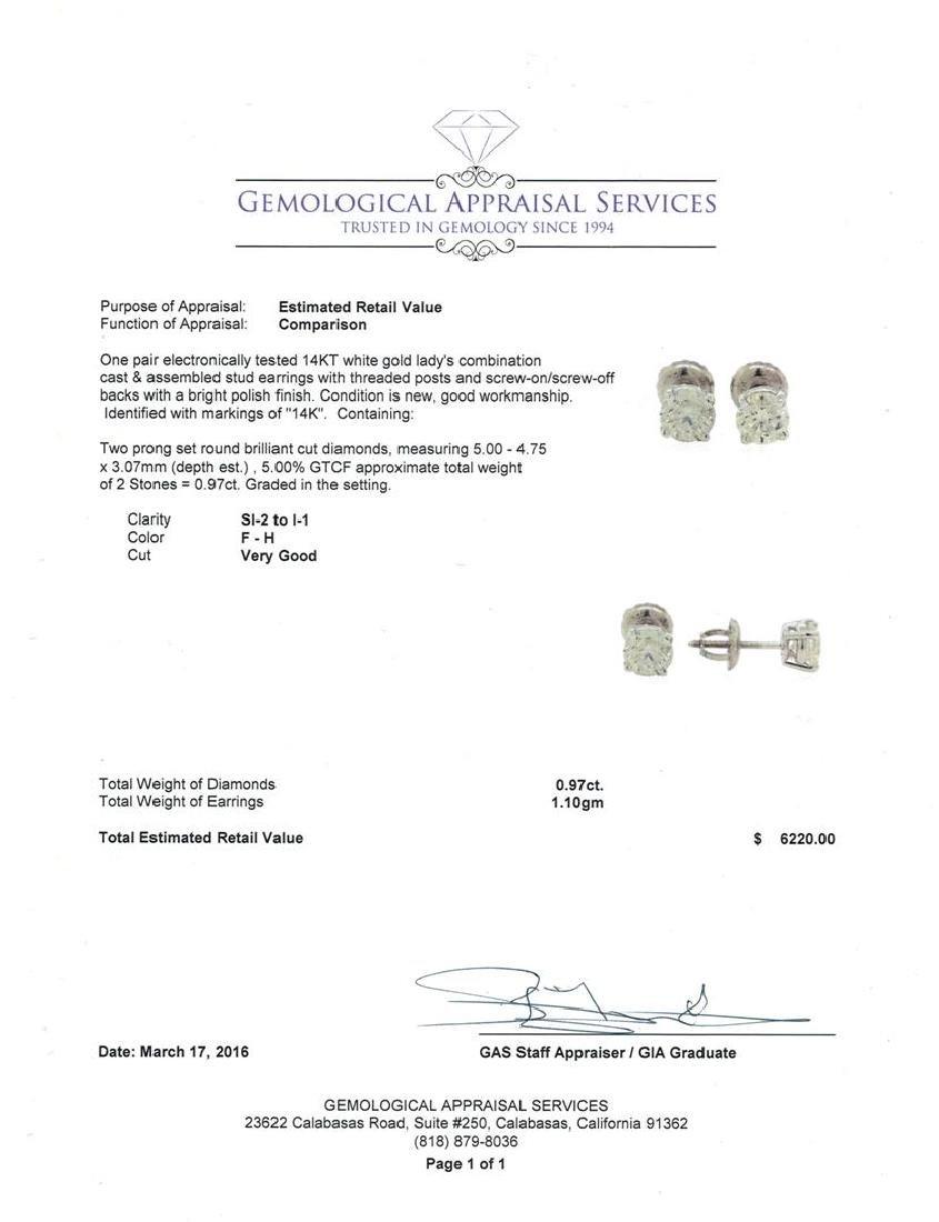 0.97 ctw Diamond Stud Earrings - 14KT White Gold - 3