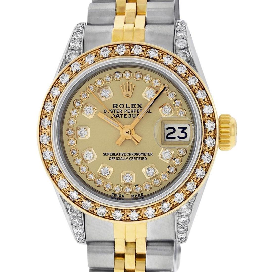 Rolex Ladies 2 Tone 14K Champagne Diamond Lugs Datejust