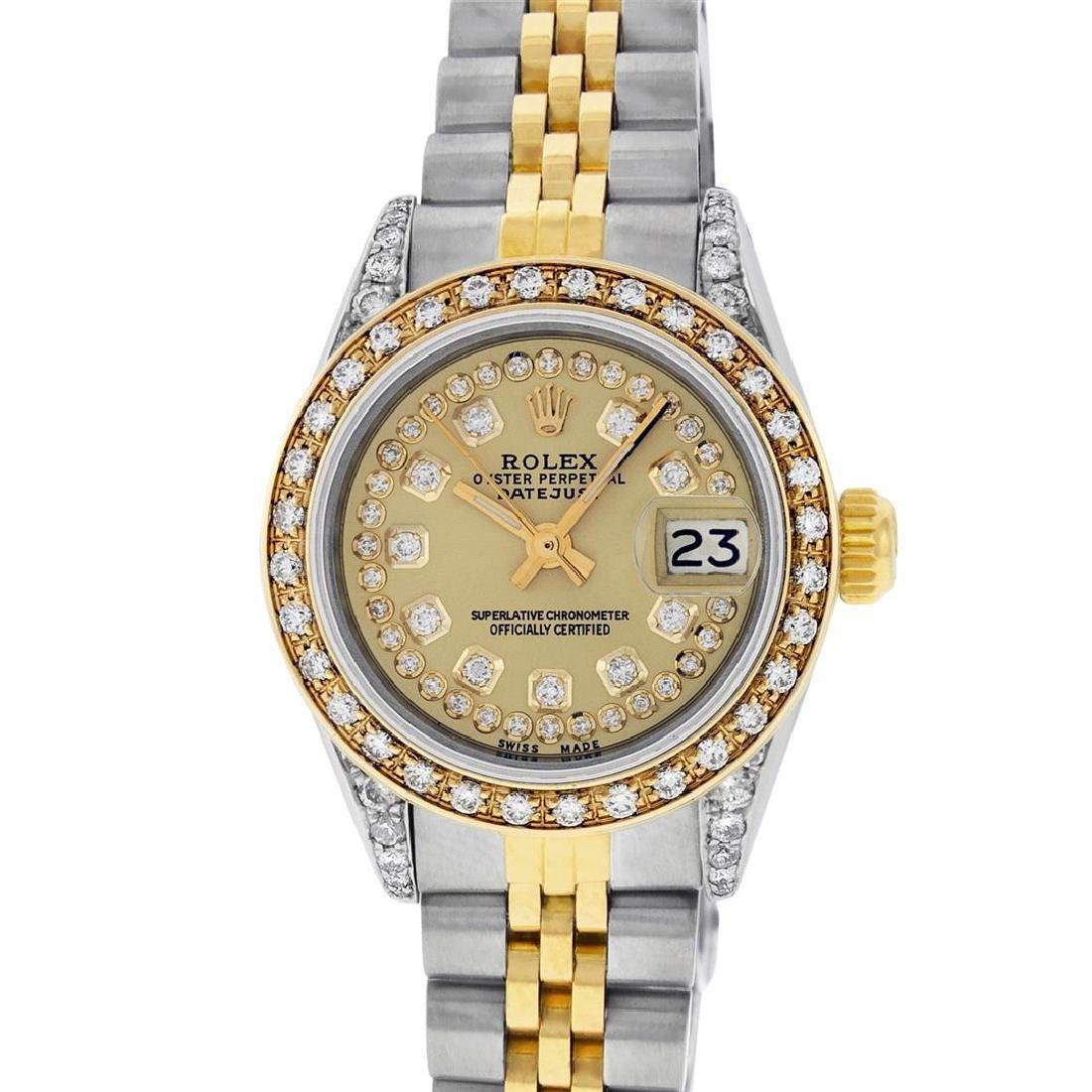 Rolex Ladies 2 Tone 14K Champagne Diamond Lugs Datejust - 2