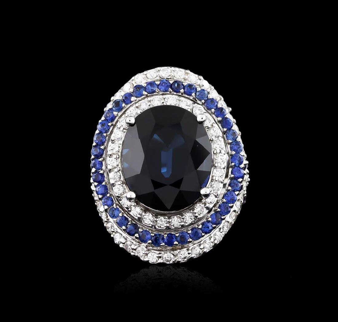 14.21 ctw Sapphire and Diamond Ring - 18KT White Gold