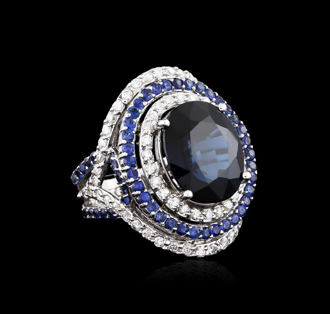 14.21 ctw Sapphire and Diamond Ring - 18KT White Gold - 2