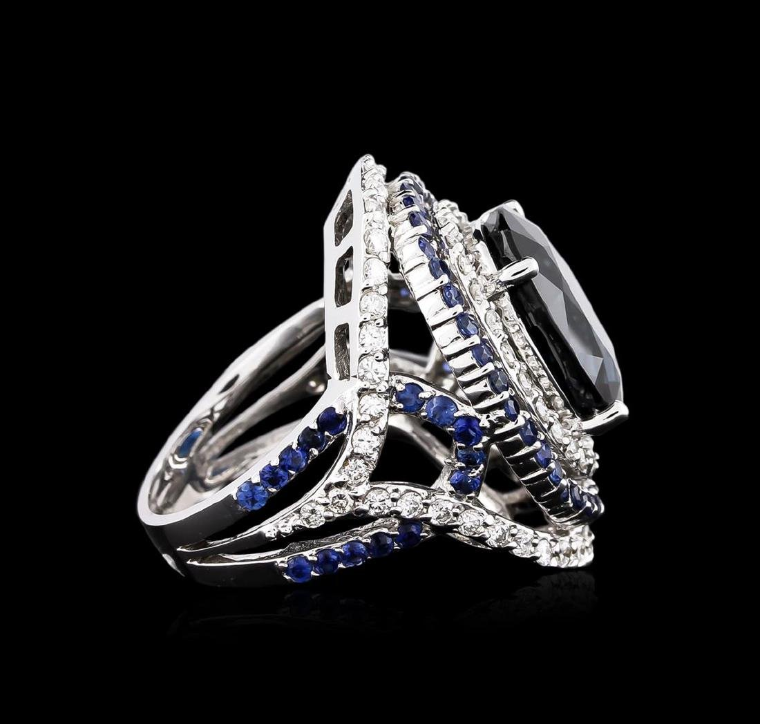 14.21 ctw Sapphire and Diamond Ring - 18KT White Gold - 3