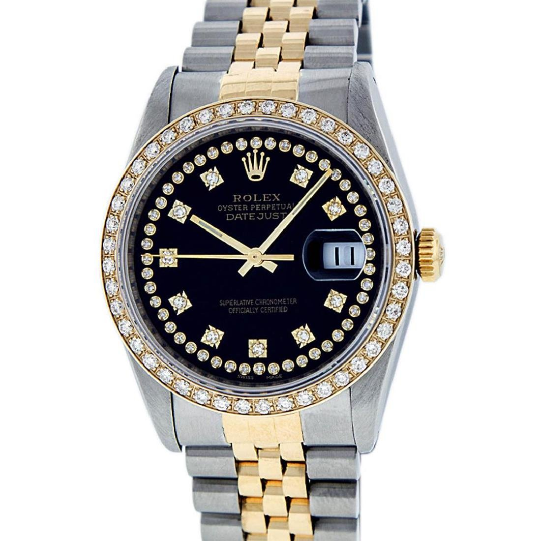 Rolex Mens 2 Tone 14K Black String VS Diamond Datejust