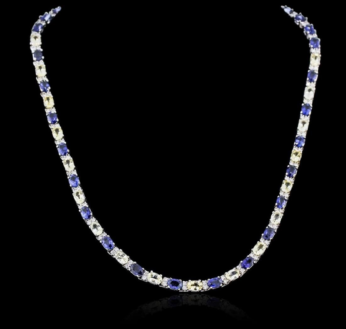 14KT White Gold 28.08 ctw Sapphire and Diamond Necklace - 2