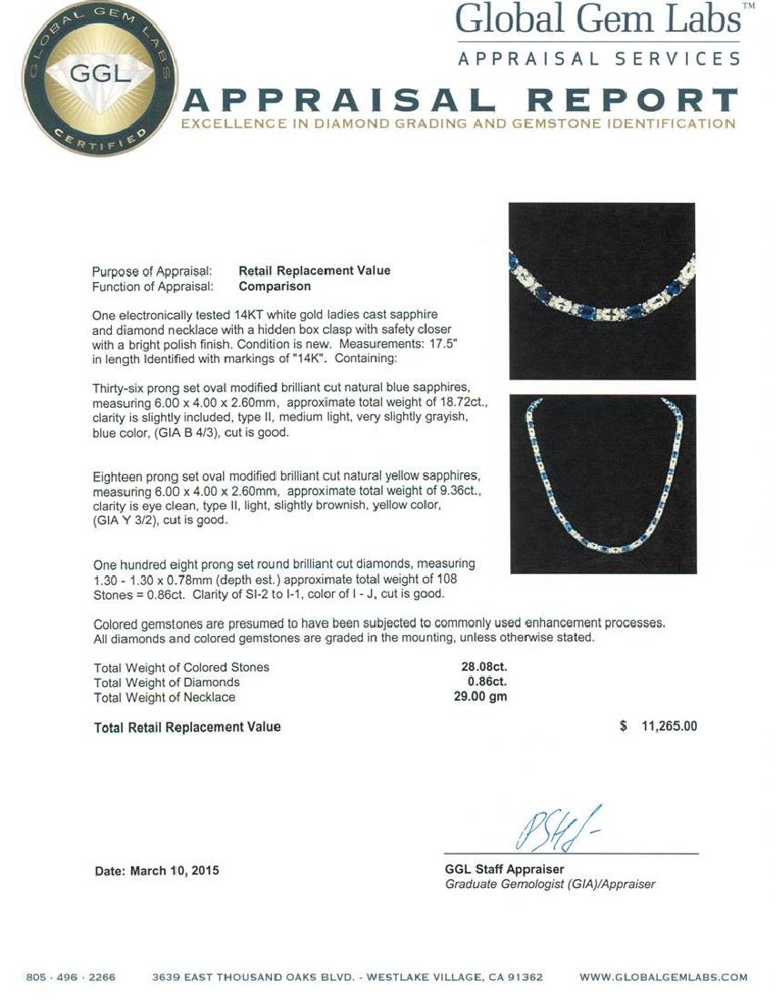 14KT White Gold 28.08 ctw Sapphire and Diamond Necklace - 3