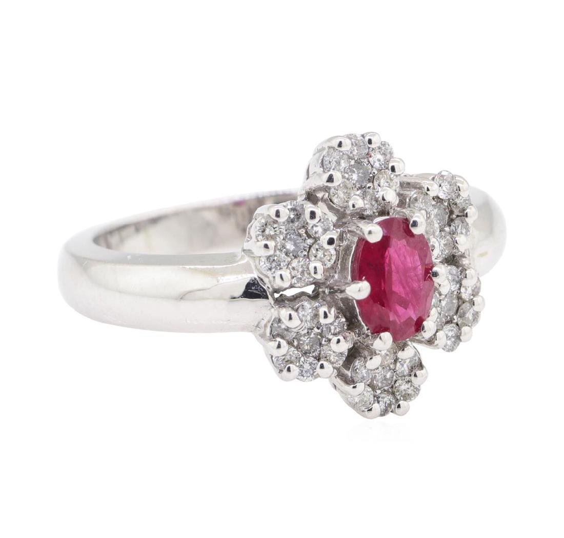 1.04 ctw Colored Stone And Diamond Ring - 14KT White