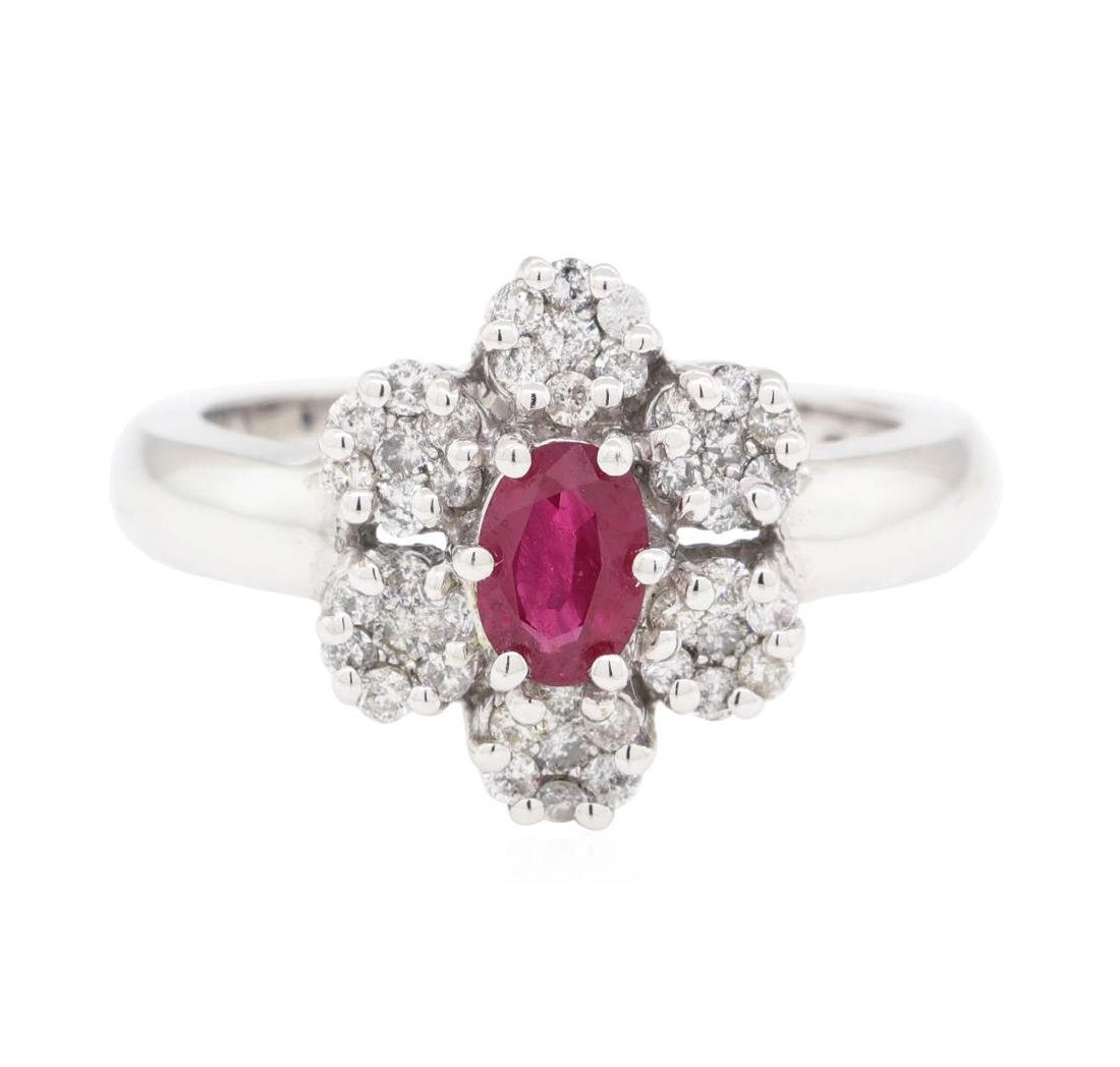 1.04 ctw Colored Stone And Diamond Ring - 14KT White - 2
