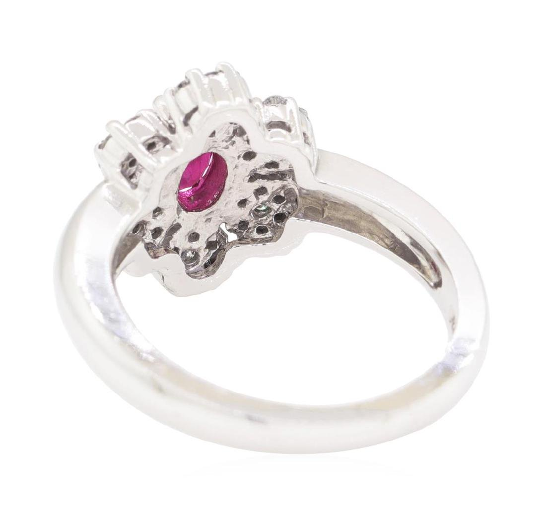 1.04 ctw Colored Stone And Diamond Ring - 14KT White - 3