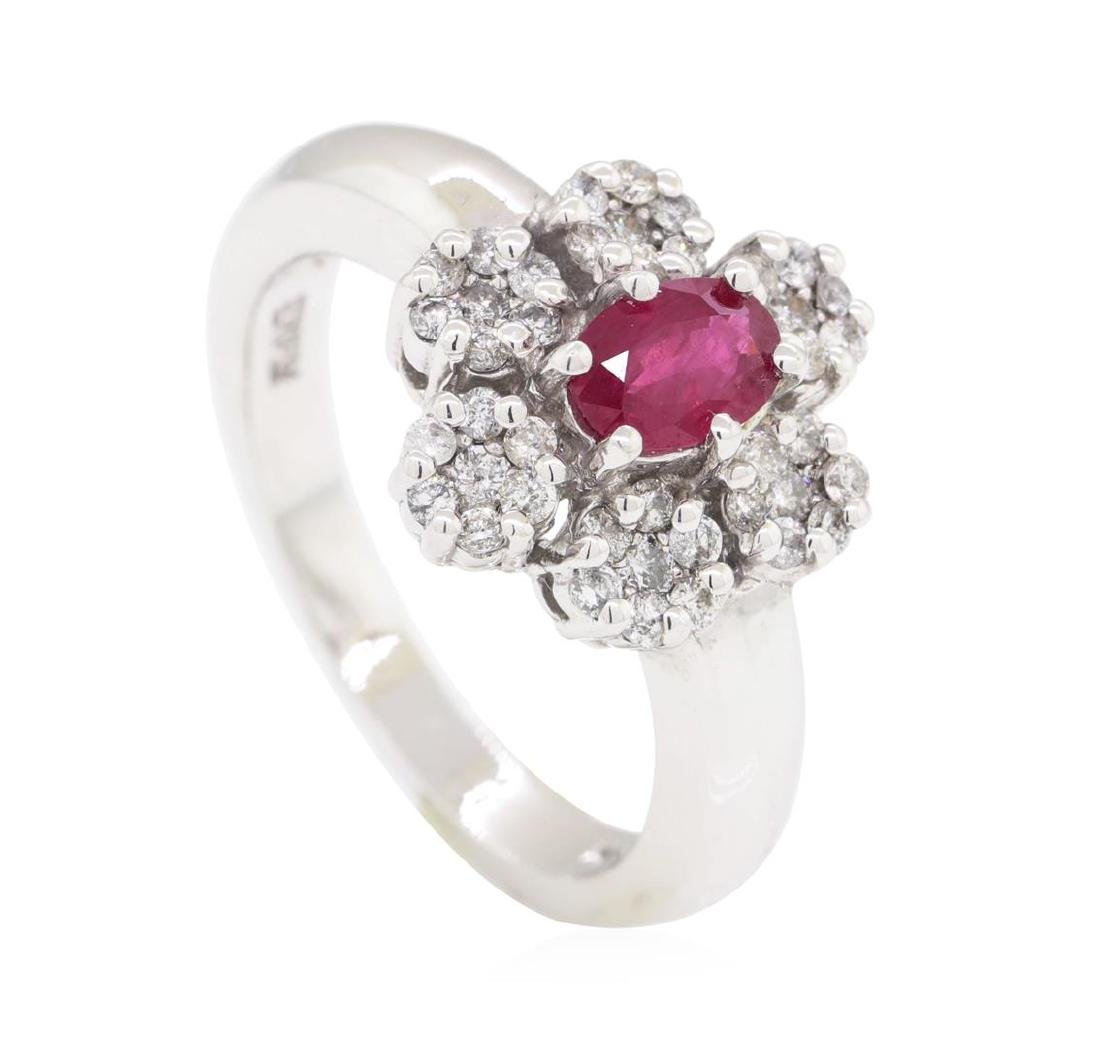 1.04 ctw Colored Stone And Diamond Ring - 14KT White - 4