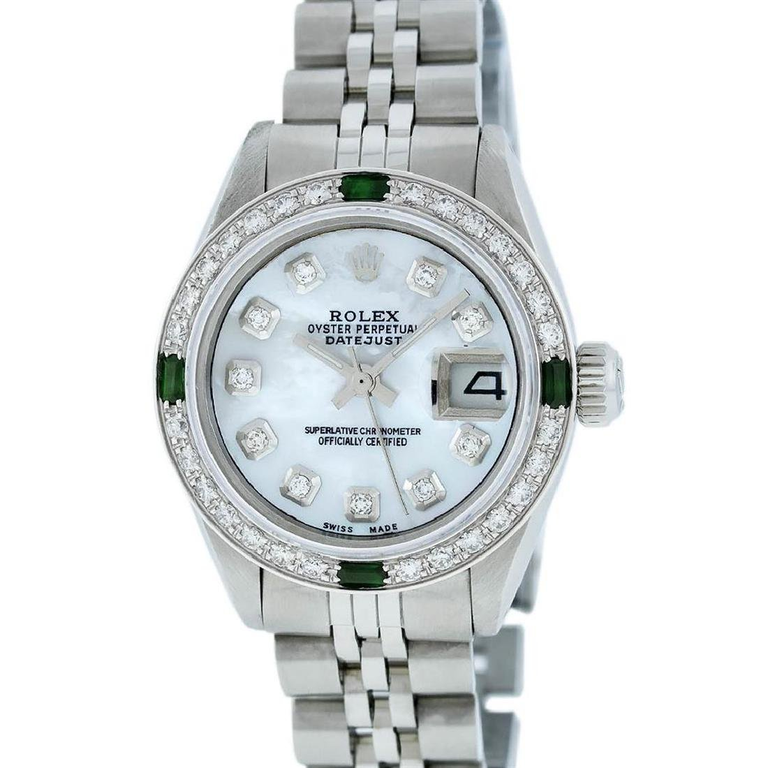 Rolex Ladies Stainless Steel Mother Of Pearl Diamond - 2