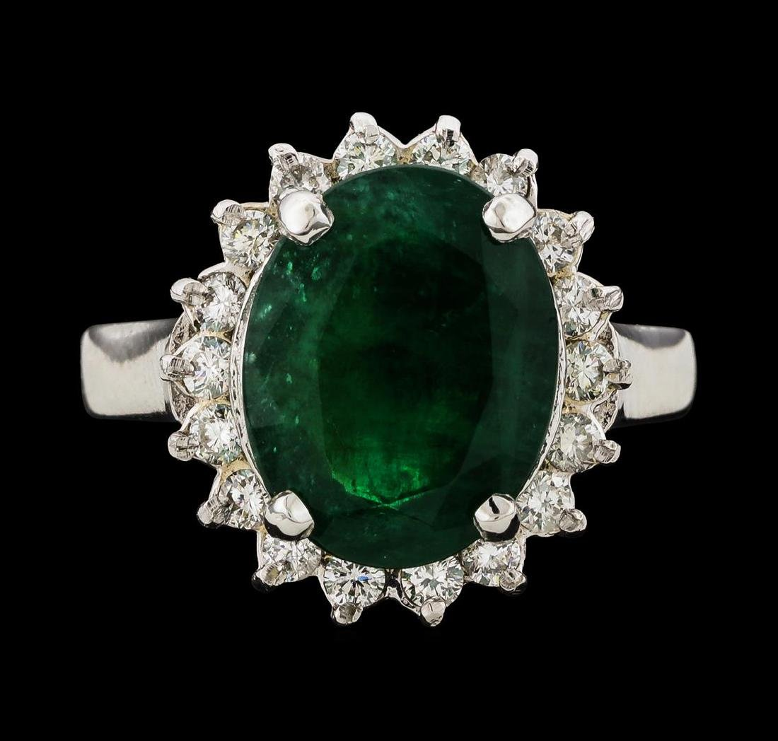 4.39 ctw Emerald and Diamond Ring - 14KT White Gold - 2