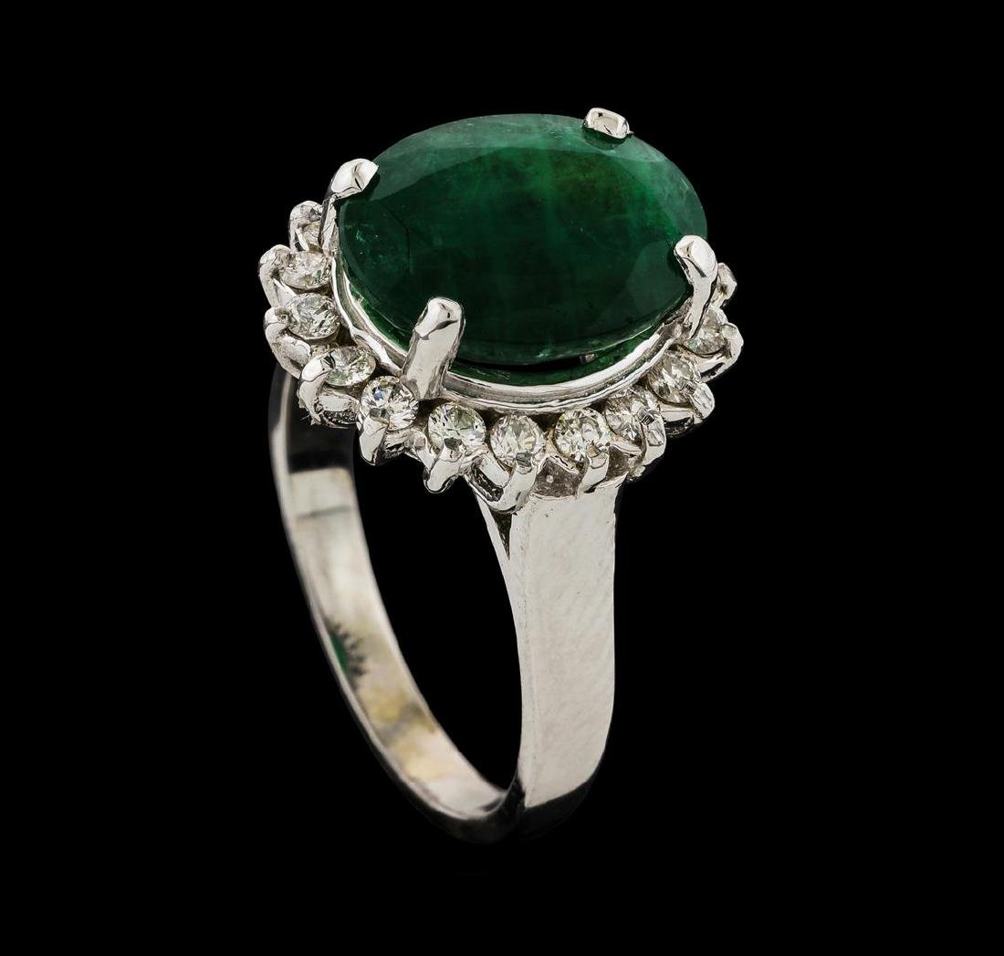4.39 ctw Emerald and Diamond Ring - 14KT White Gold - 4