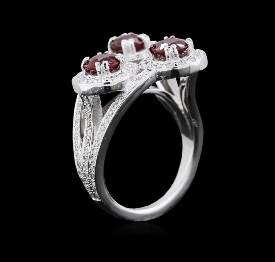 2.64 ctw Ruby and Diamond Ring - 14KT White Gold - 3
