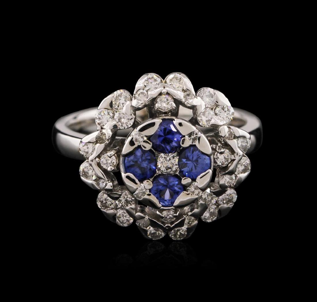 14KT White Gold 0.58 ctw Tanzanite and Diamond Ring - 2