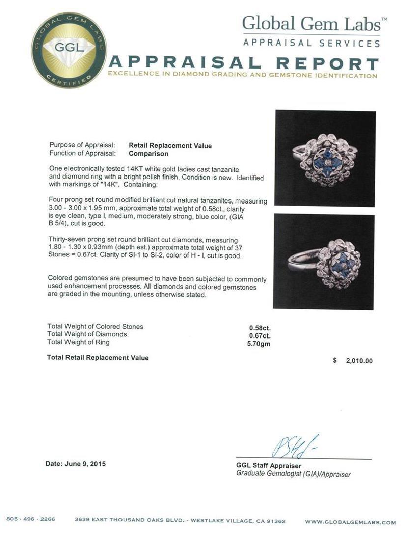 14KT White Gold 0.58 ctw Tanzanite and Diamond Ring - 3