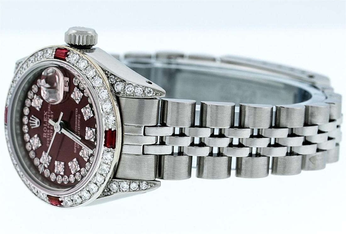Rolex Ladies Stainless Steel 26MM Maroon Diamond Lugs - 3