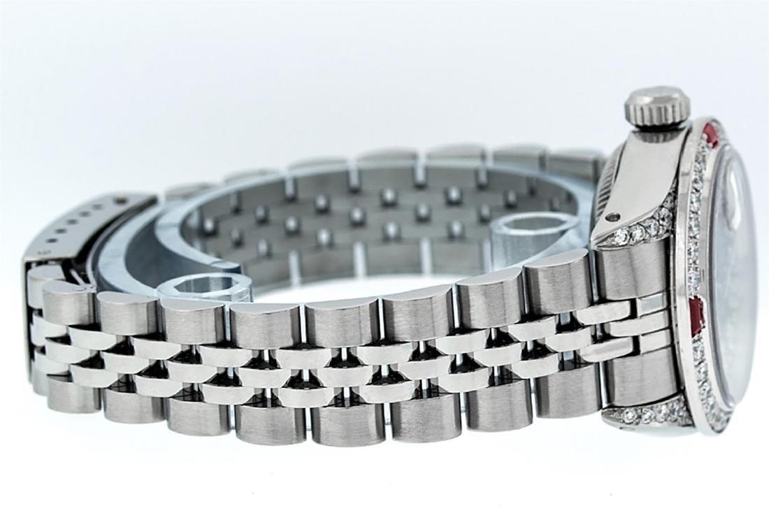 Rolex Ladies Stainless Steel 26MM Maroon Diamond Lugs - 5