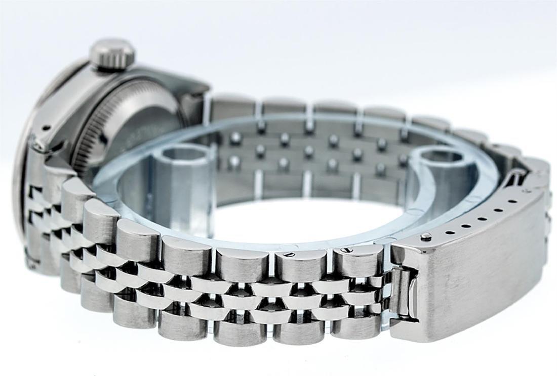 Rolex Ladies Stainless Steel 26MM Maroon Diamond Lugs - 6