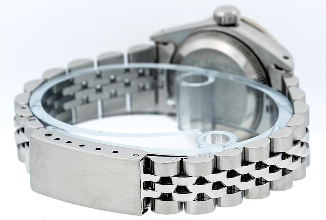 Rolex Ladies Stainless Steel 26MM Maroon Diamond Lugs - 7